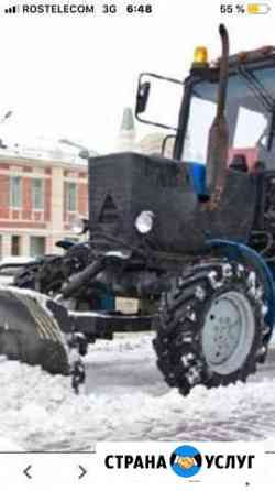 Механизированная уборка снега трактором мтз-82 Одинцово