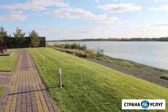 Озеленение и благоустройство под ключ, газон Омск