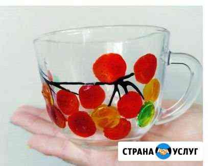 Роспись посуды витражными красками Омск